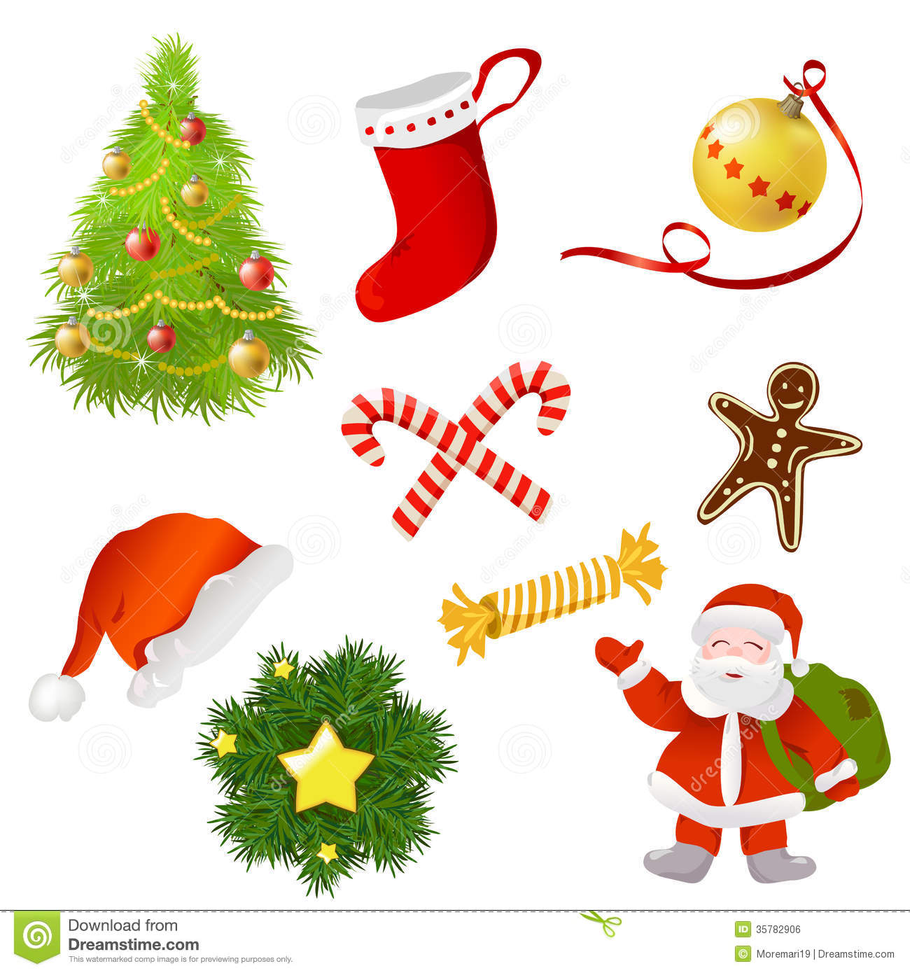 Set of christmas items stock vector image of vector for Christmas tree items list