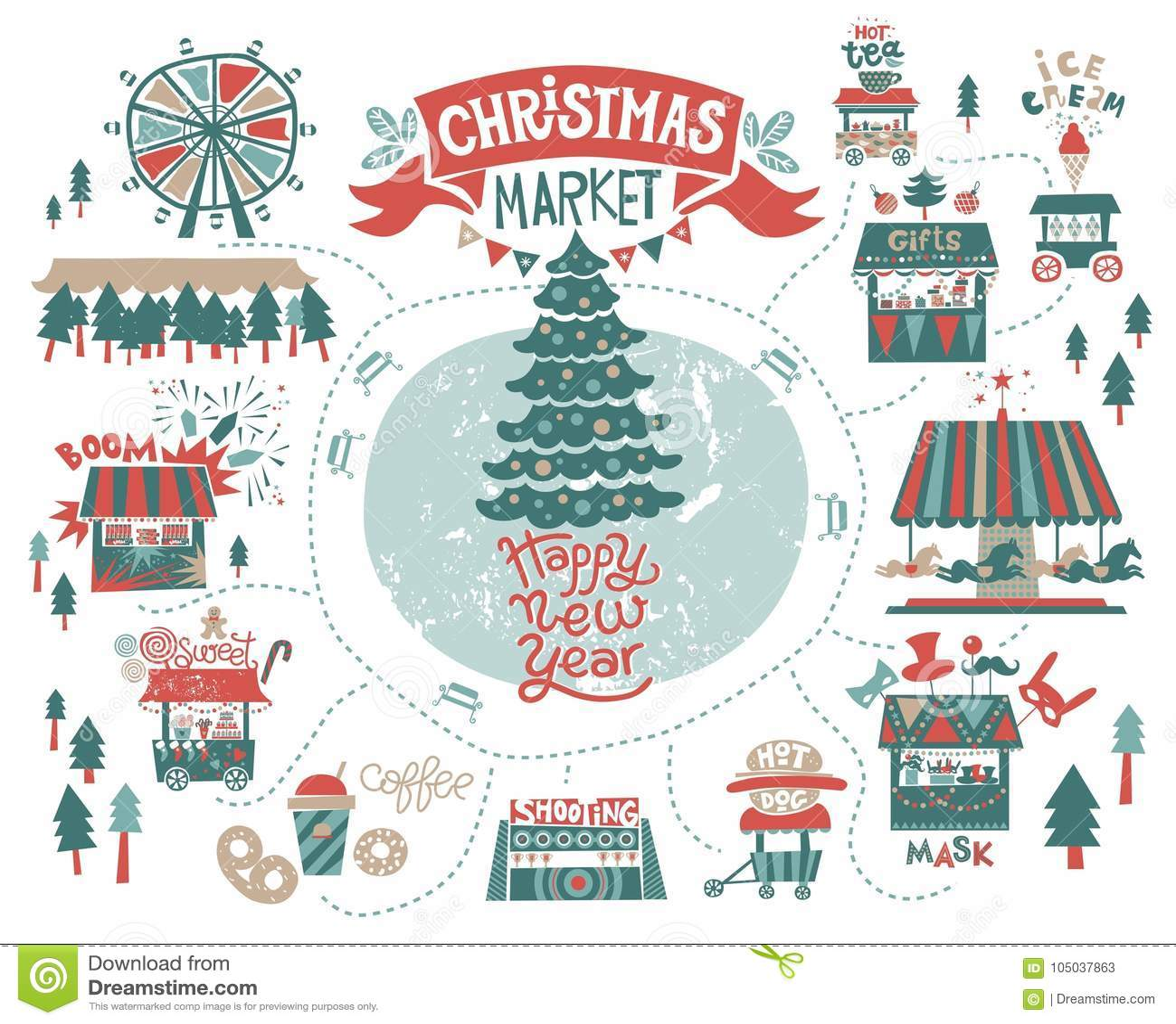 Christmas market poster stock illustration. Illustration of festival ...