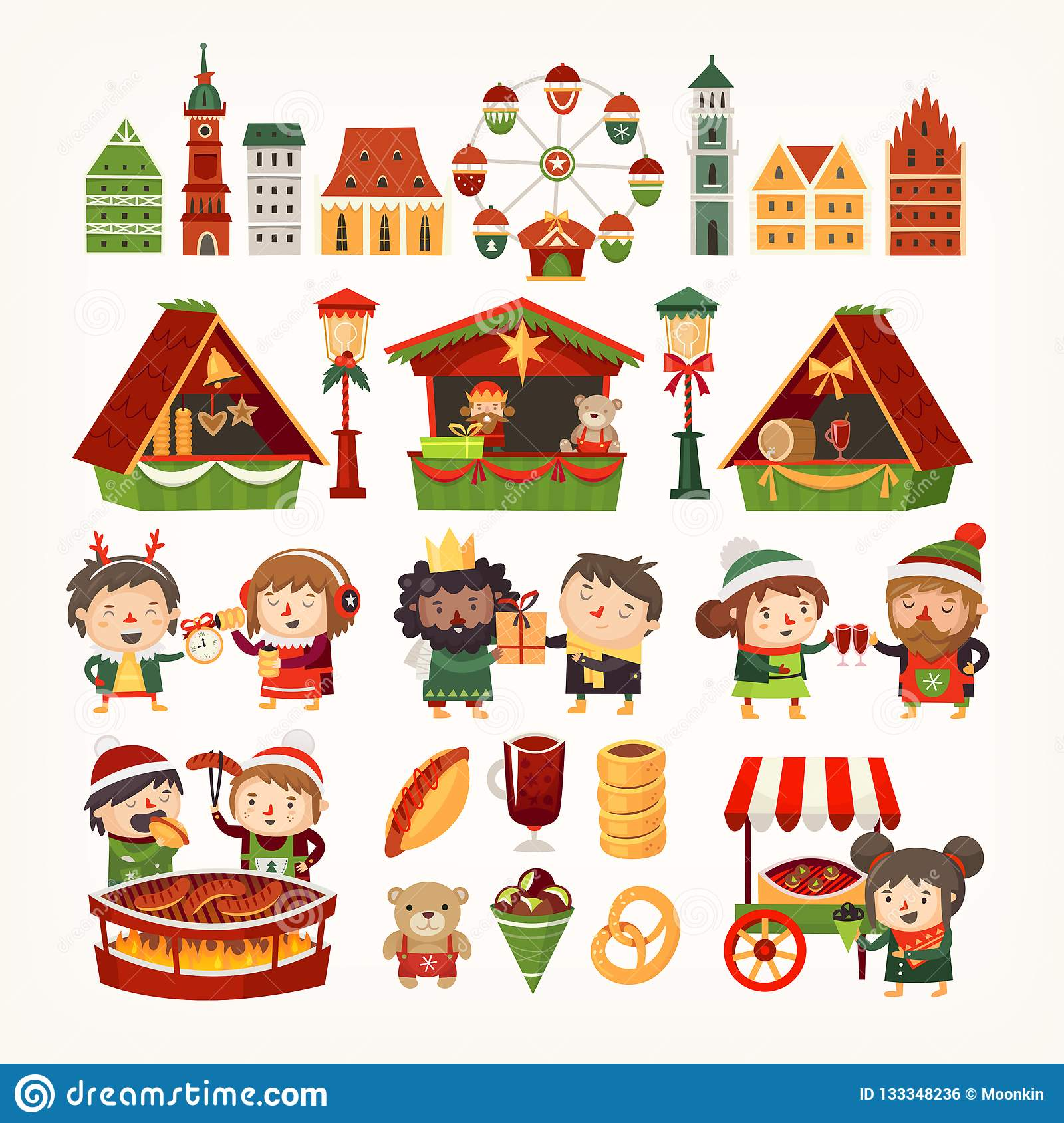 Set of Christmas market elements. Classic European buildings, tents selling goods, people cooking winter treats.