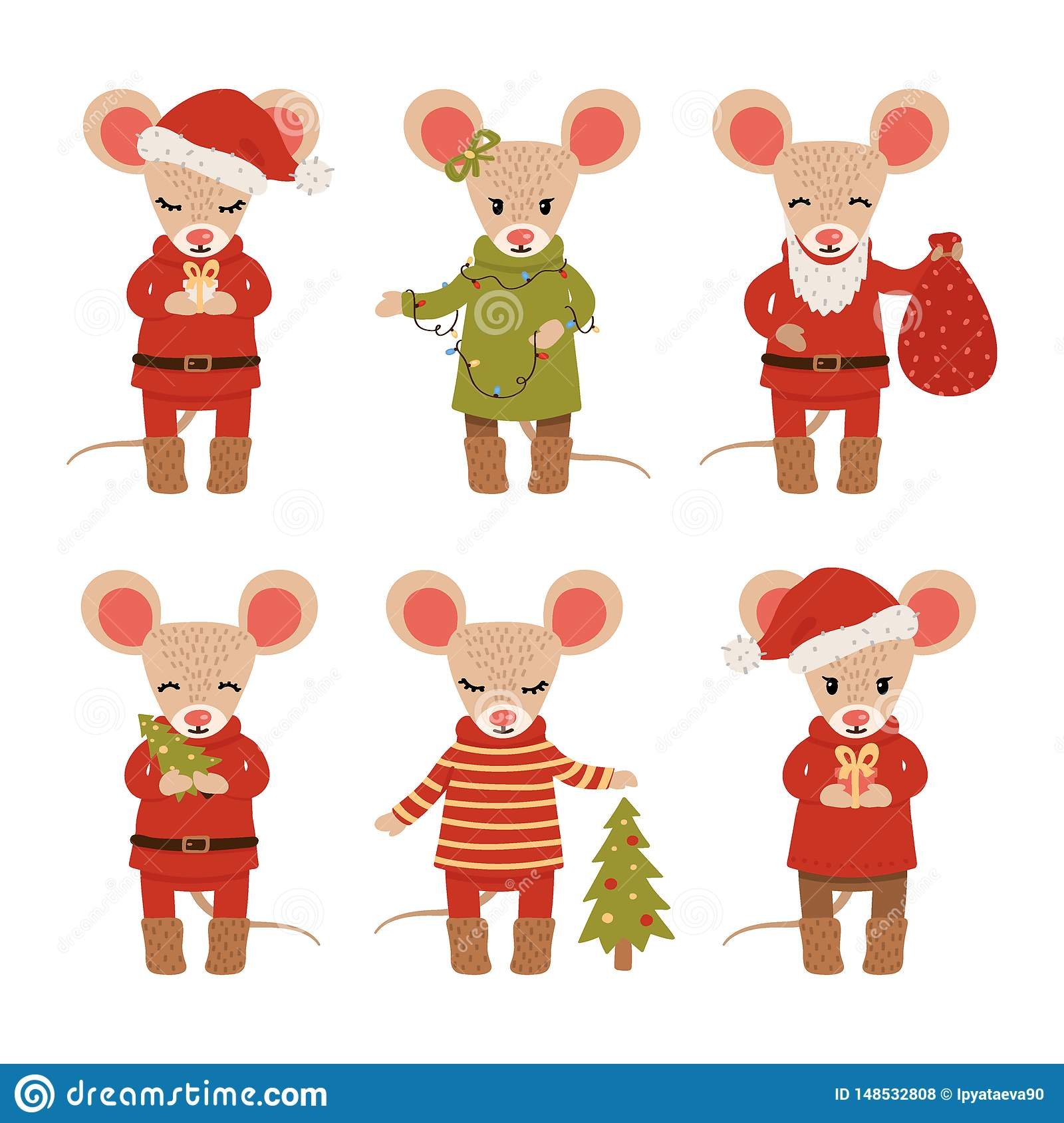 Set of Christmas mice isolated on white background. Cartoon characters. Vector illustration