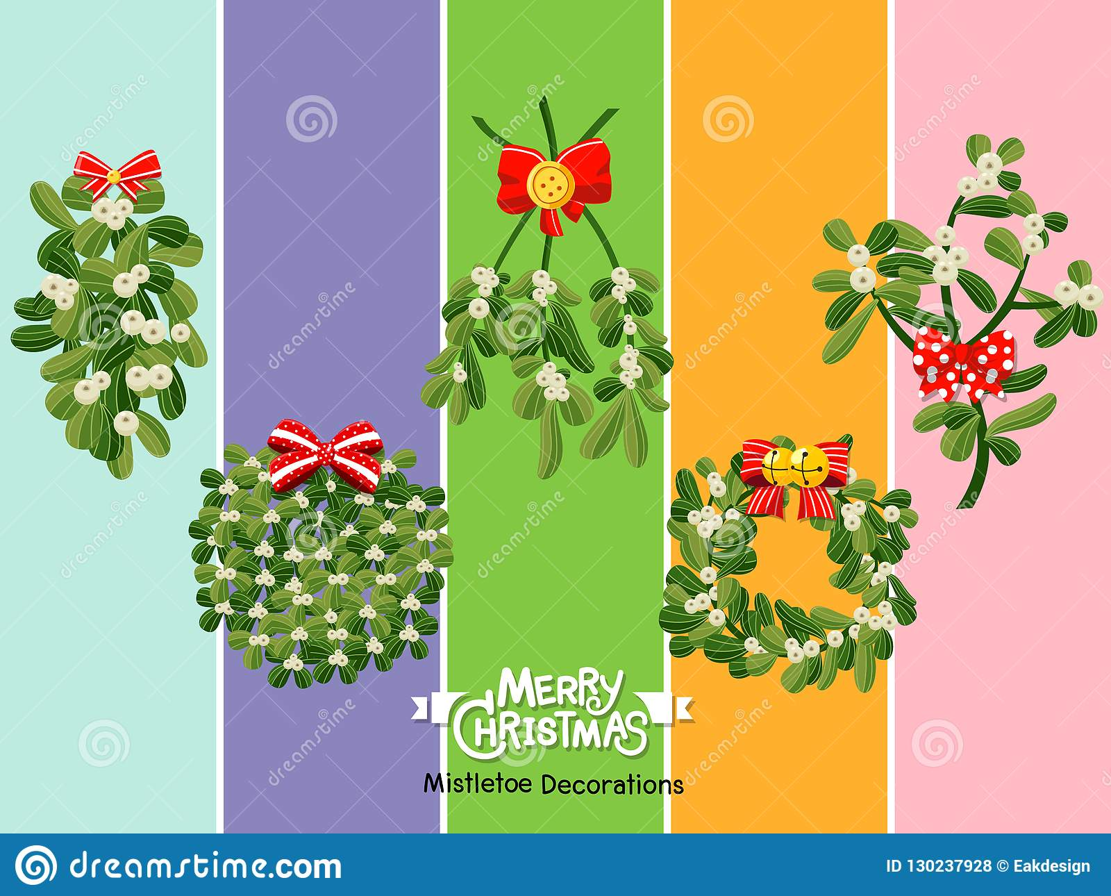 Set Christmas Mistletoe Icon On Color Background. Merry Christmas And Happy New Year. Gift And ...