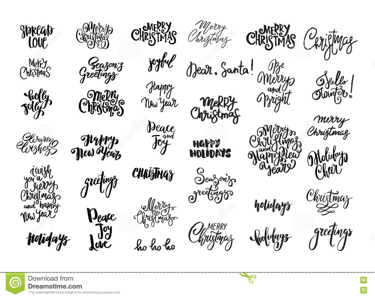 set of christmas and new year design lettering handwritten xmas wishes hand drawn signs