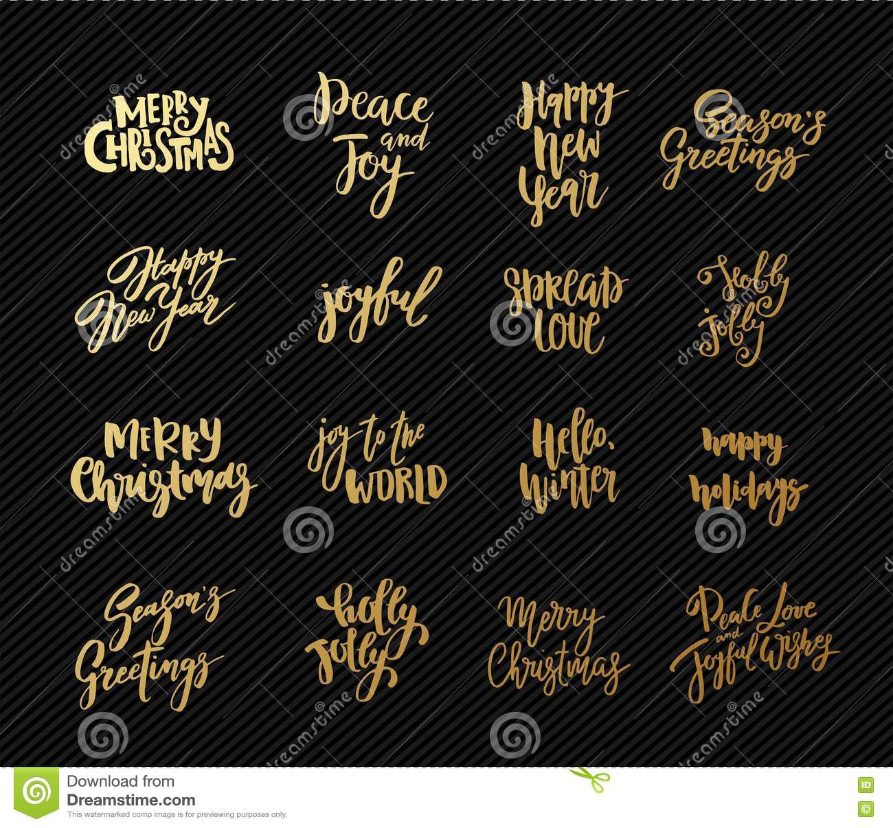 Set Of Christmas And New Year Design Lettering. Handwritten XMAS ...