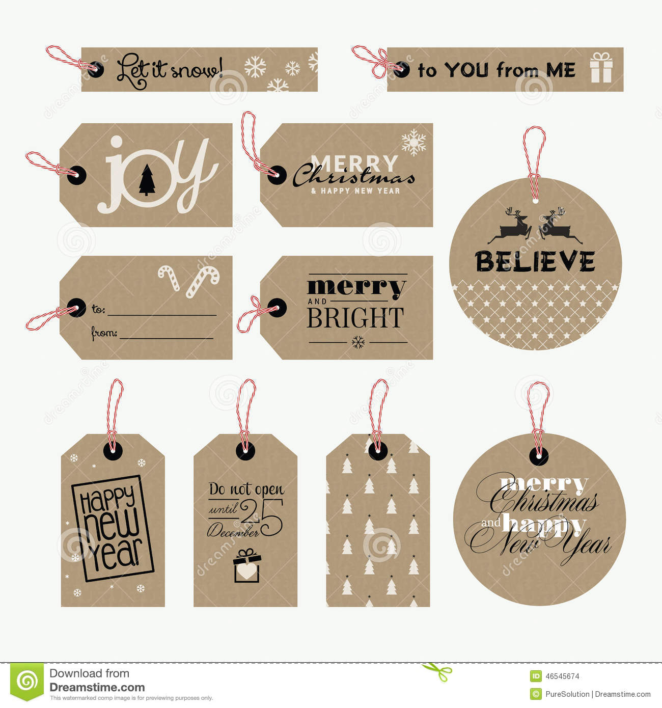 Set Of New Year Gift Tags Vector Template Hand Drawn: Set Of Christmas And New Year Gift Tags Stock Vector