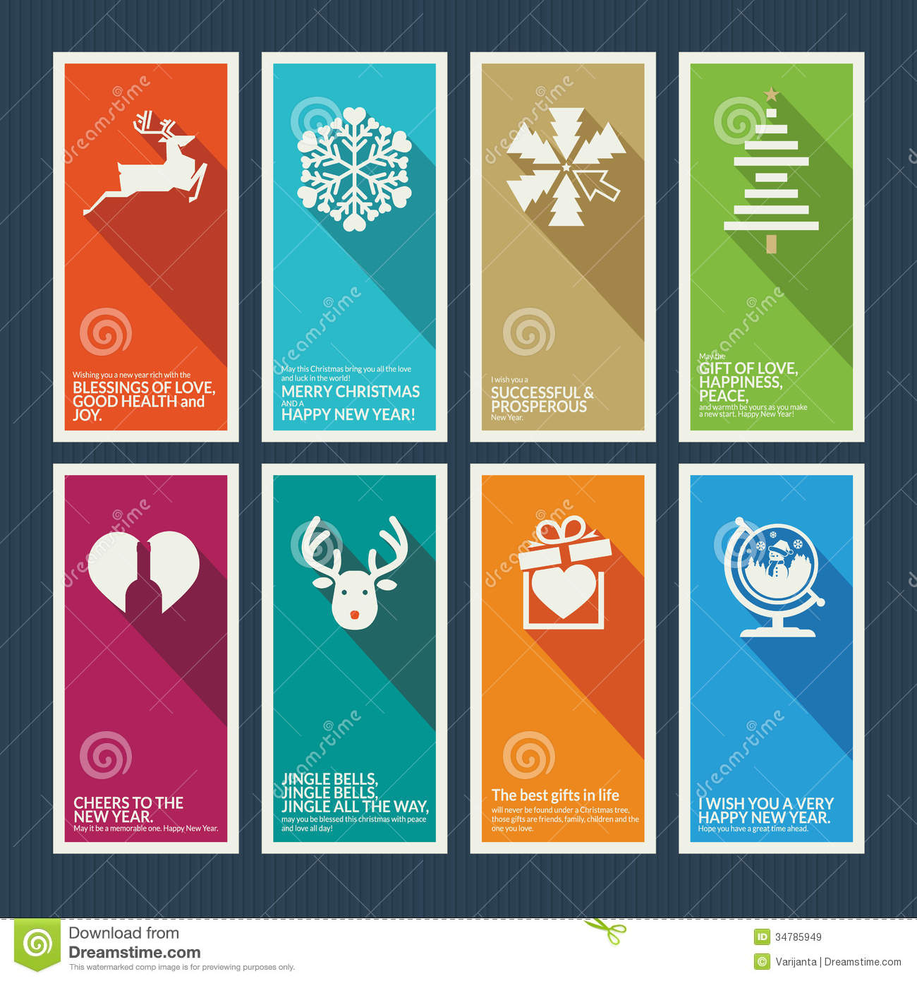 All graphics newest royalty free stock photos stock illustrations - Set Of Christmas And New Year Greeting Cards Royalty Free Stock Images