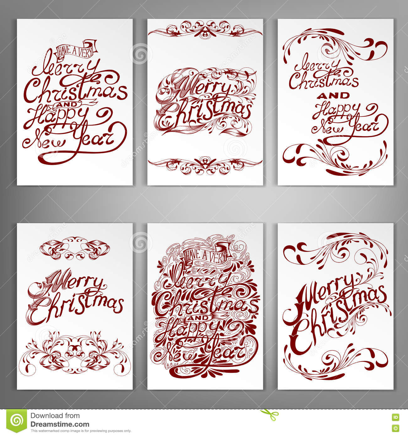 Set Of Christmas And New Year Greeting Cards Stock Vector