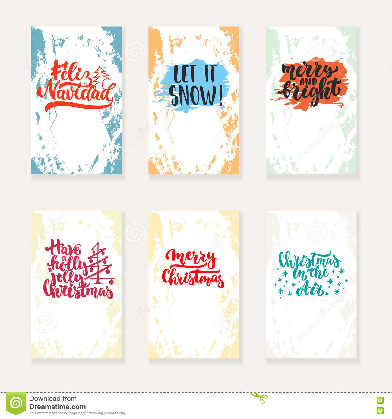 Set Of 6 Christmas And New Year Greeting Cards With Hand Drawn Brush ...