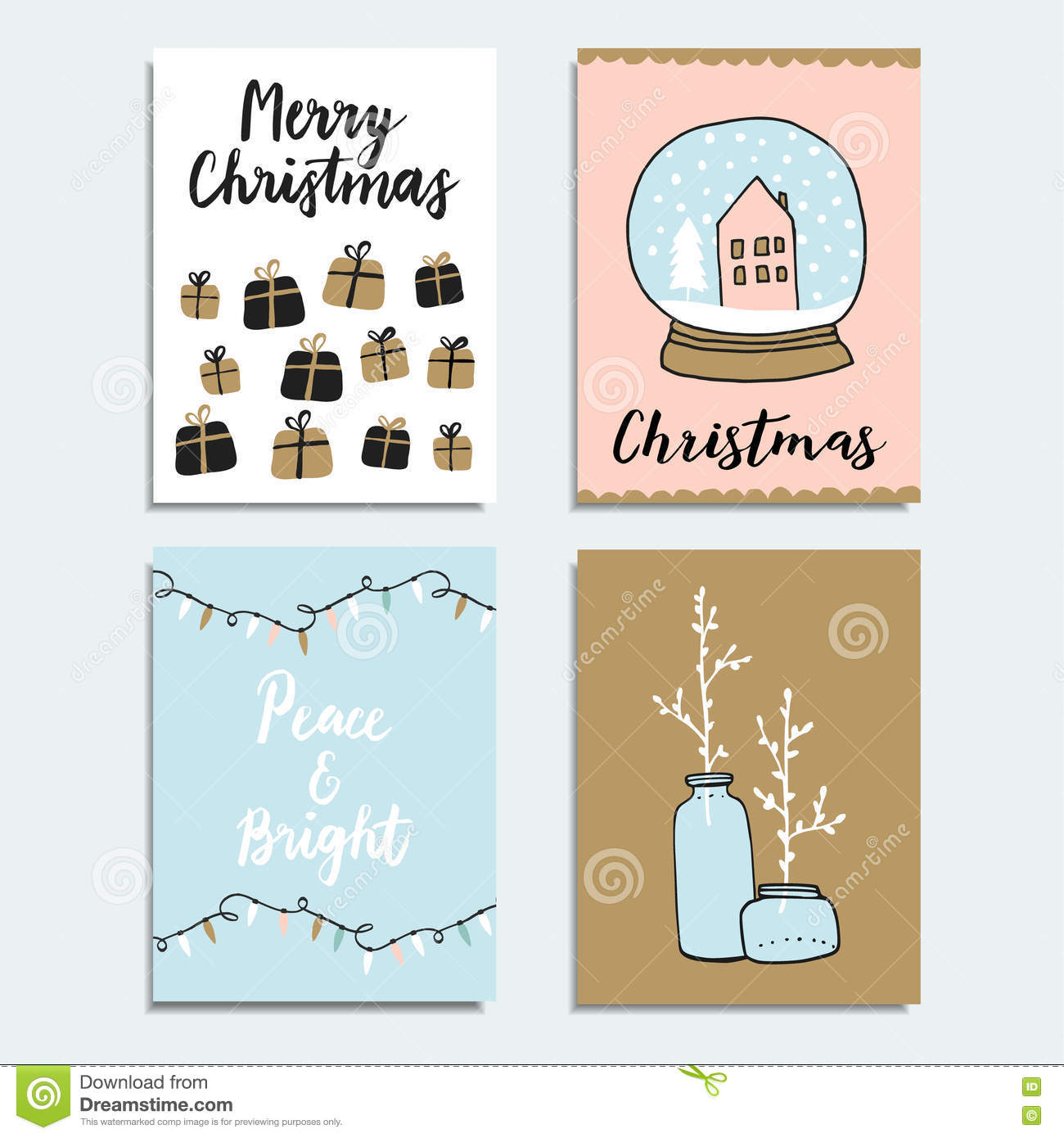 Set Of Christmas New Year Greeting Journaling Cards Invitations