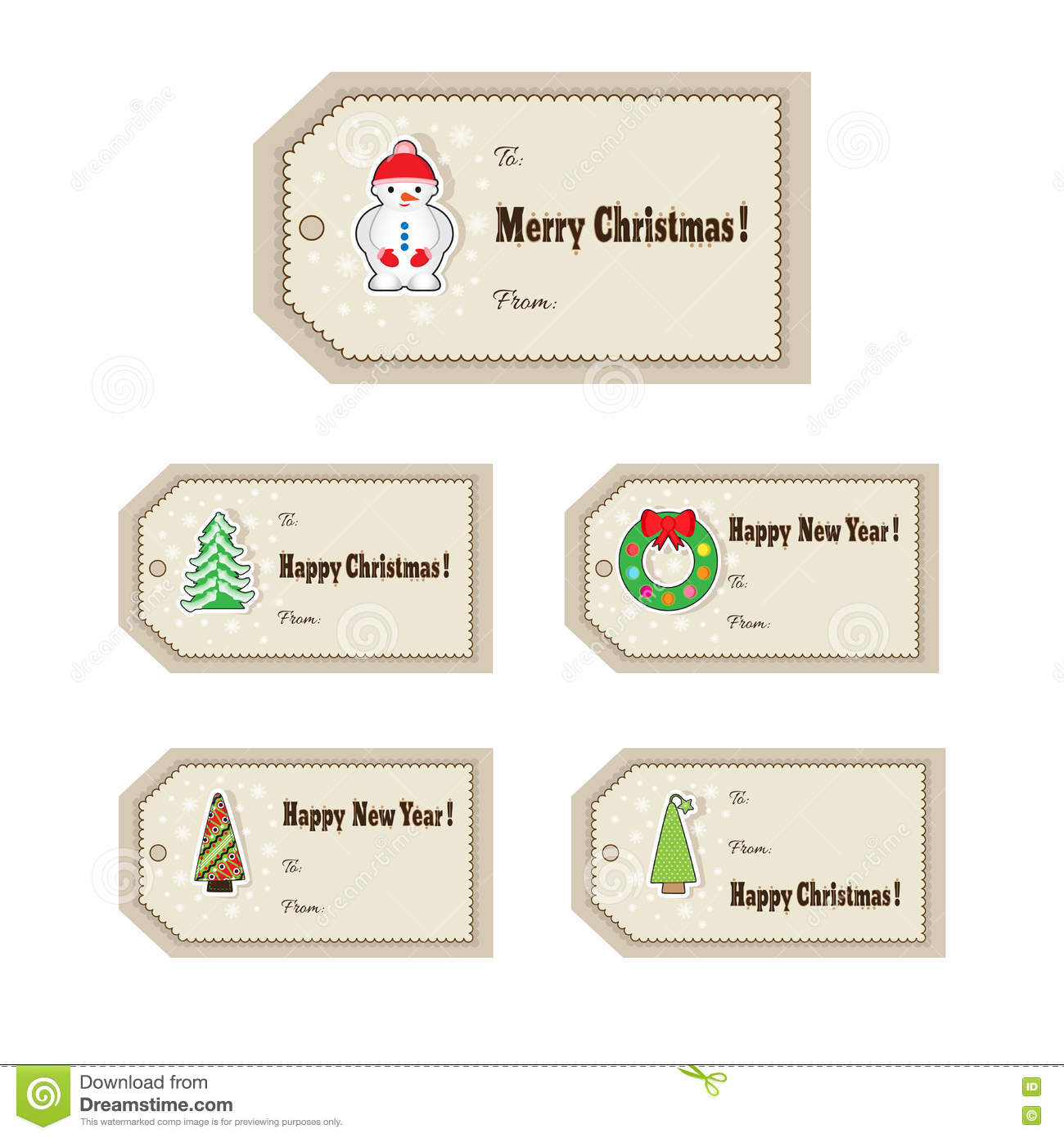 set of christmas or new year labels template for greeting