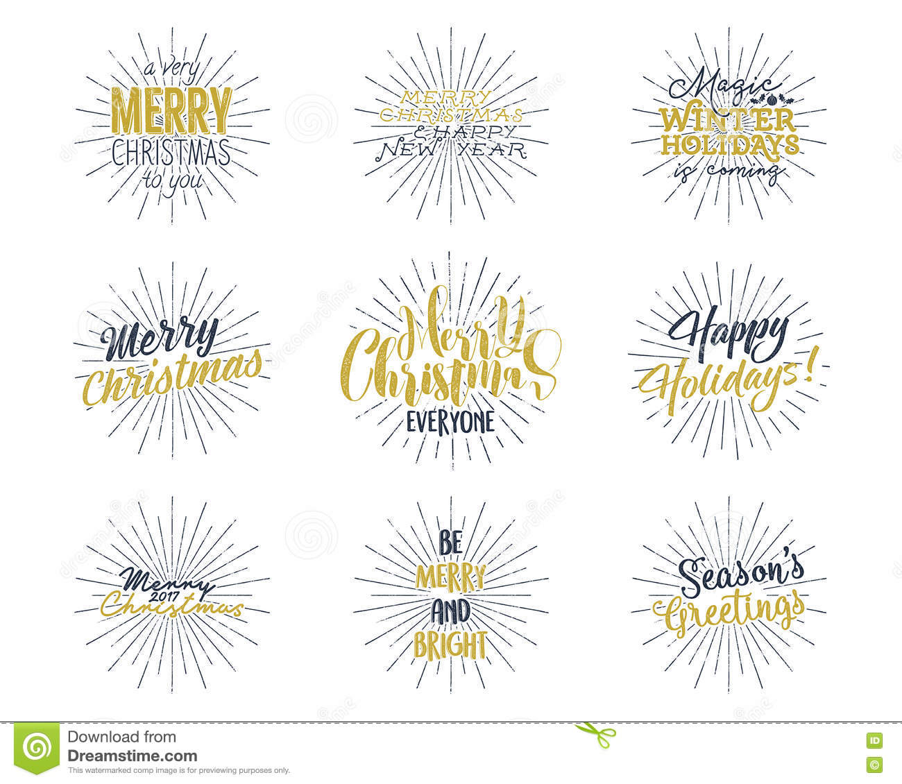 Set Of Christmas New Year 2017 Lettering Wishes Sayings And