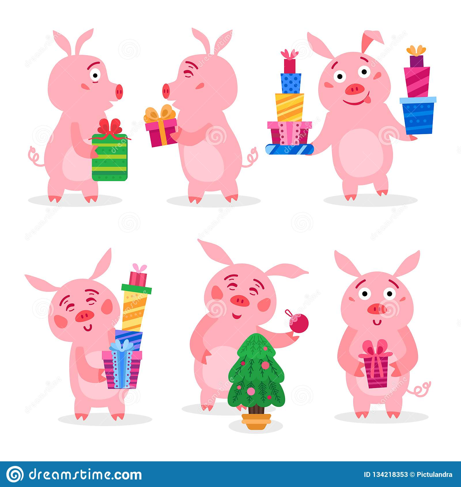Christmas Pigs.Set Of Christmas Pigs With Christmas Gifts Vector Stock