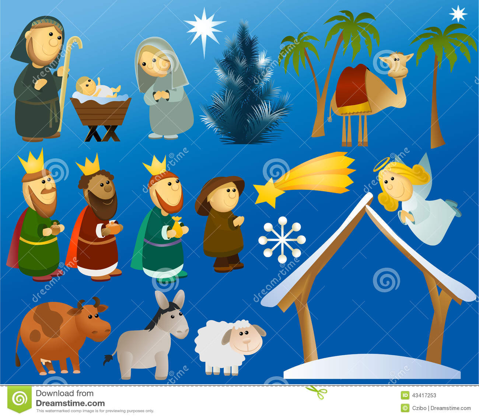 Set Of Christmas Scene Elements Stock Vector - Image: 43417253