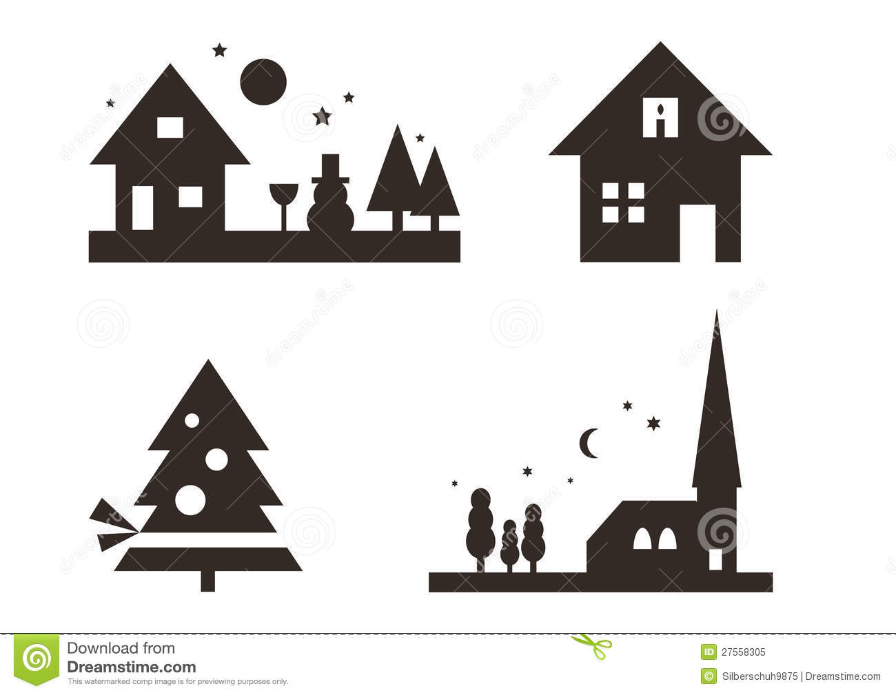 Set of christmas silhouettes royalty free stock photo - Silhouette de noel exterieur ...
