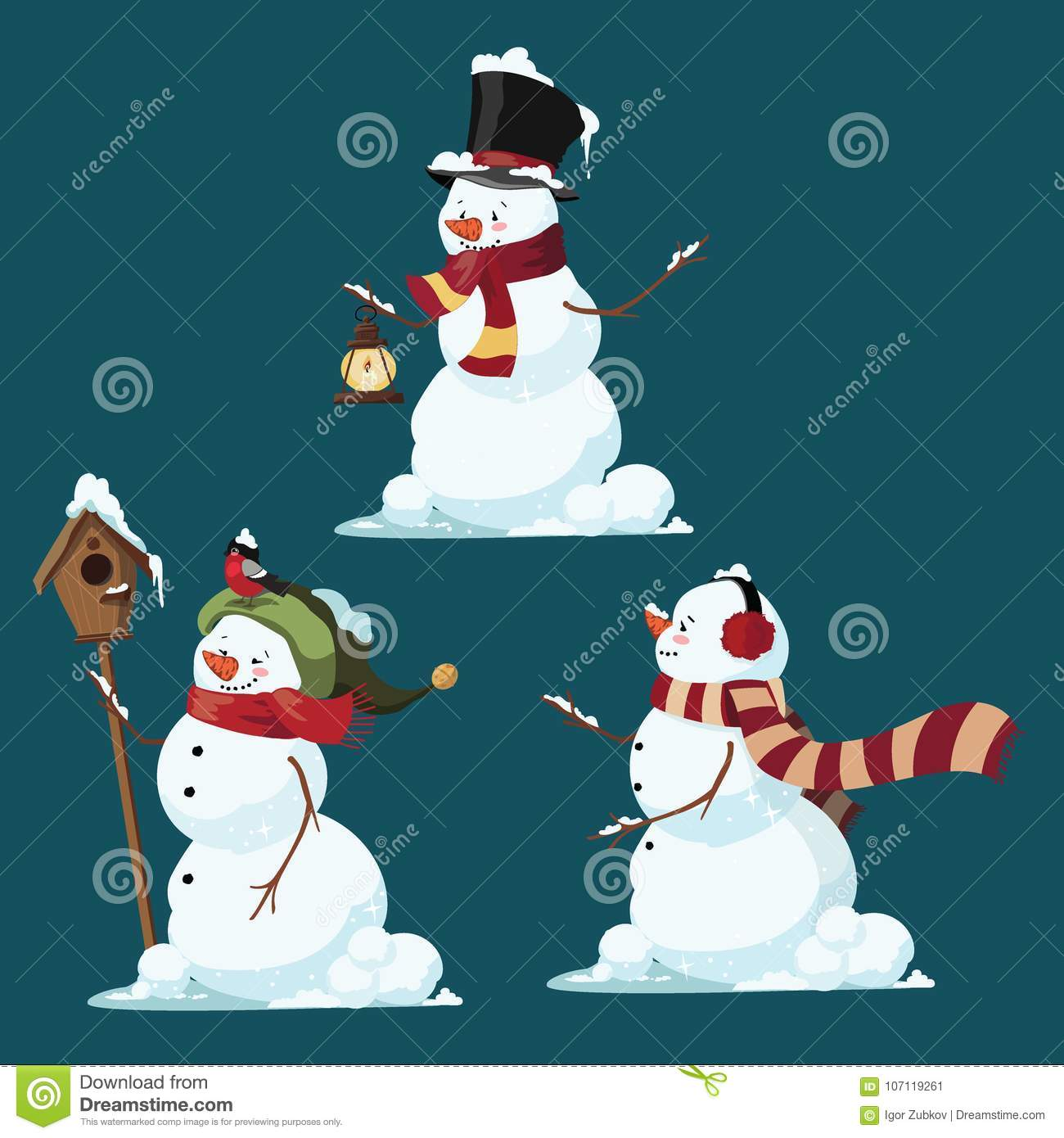 Set of Christmas snowmen. Collection of funny cartoon