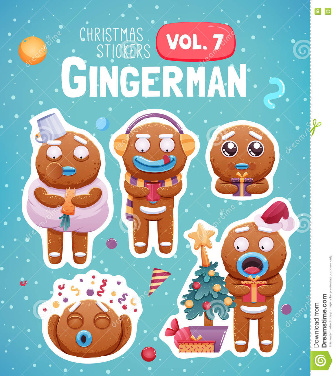 Set of christmas stickers with expressive gingerbread man cookies.