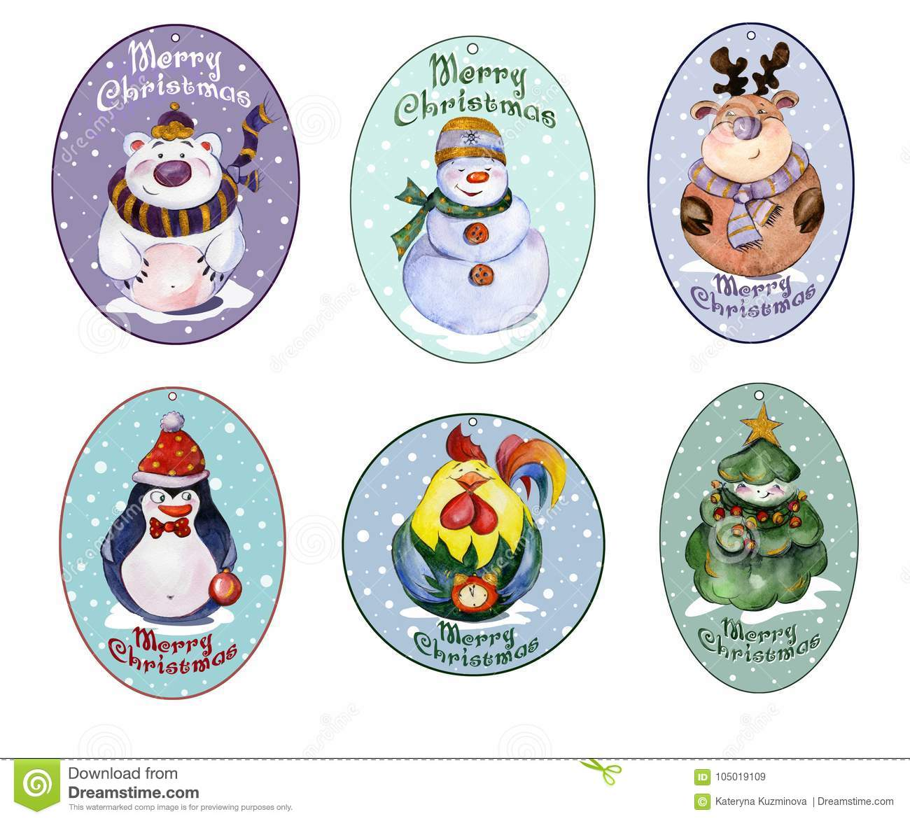 Set Of Christmas Tags With Funny Animals And Christmas Tree Wat