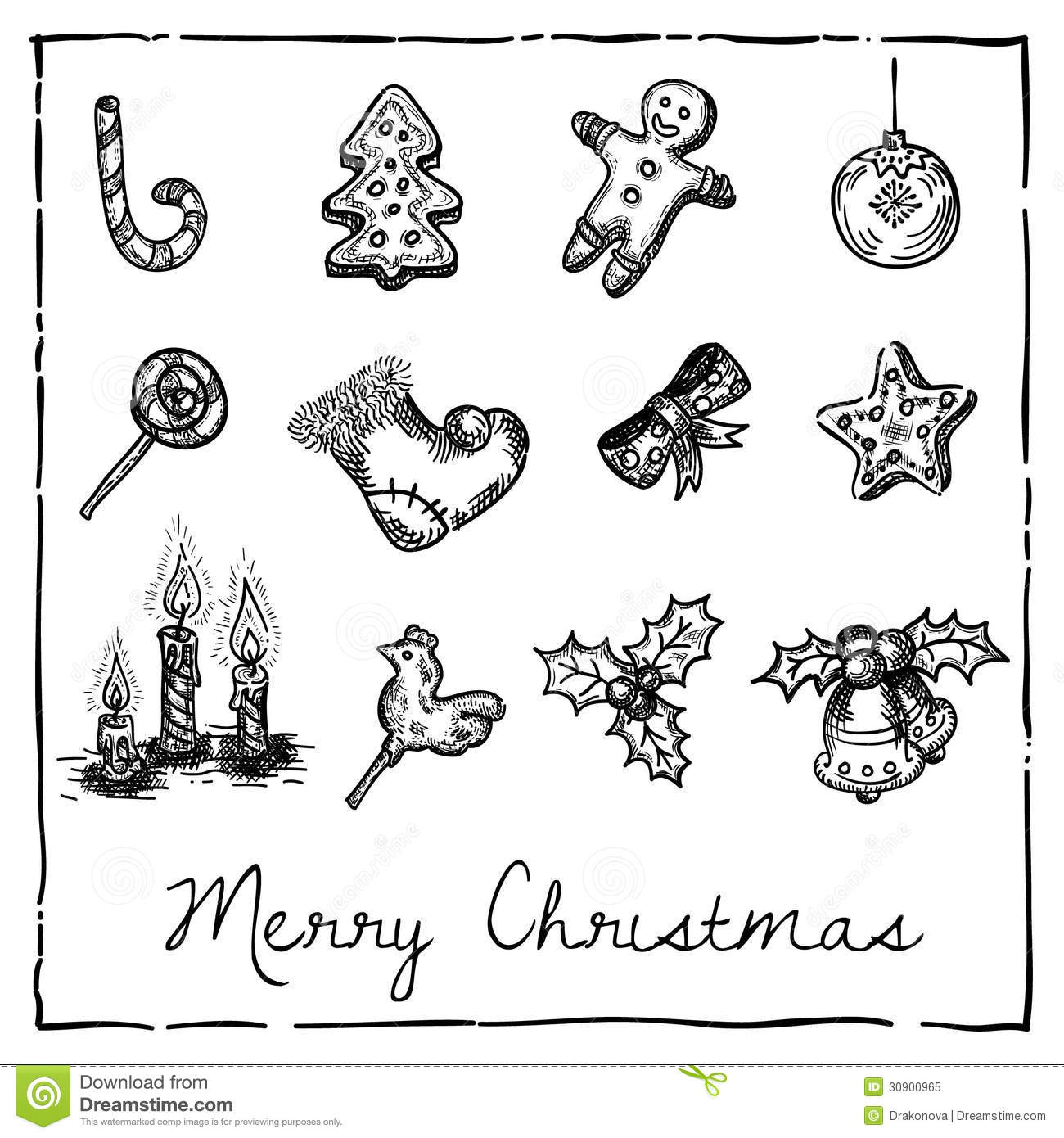 Set of christmas themed elements stock vector for Drawing decoration ideas