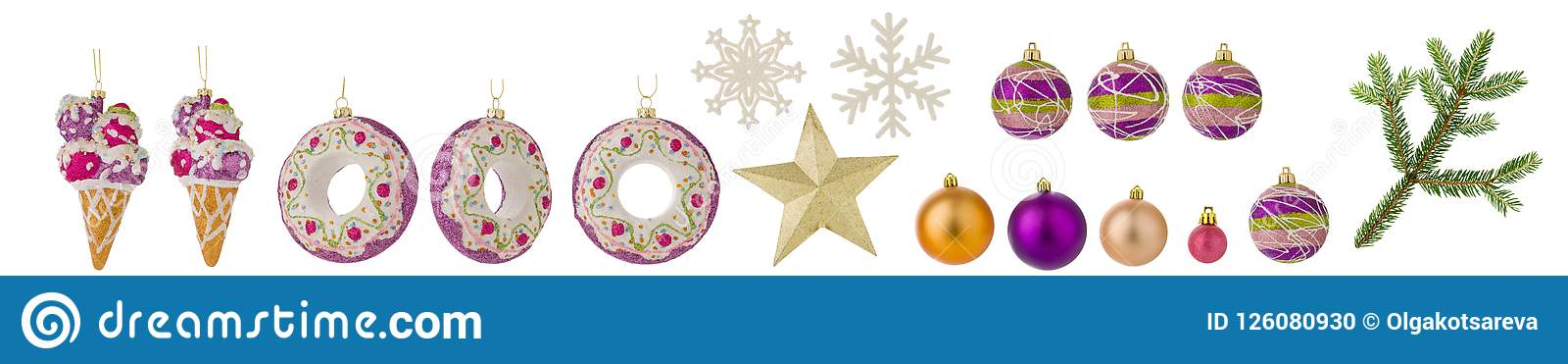 Set of Christmas toys isolated on white background. Balls, spruce branch, snowflakes and other toys as clipart for design