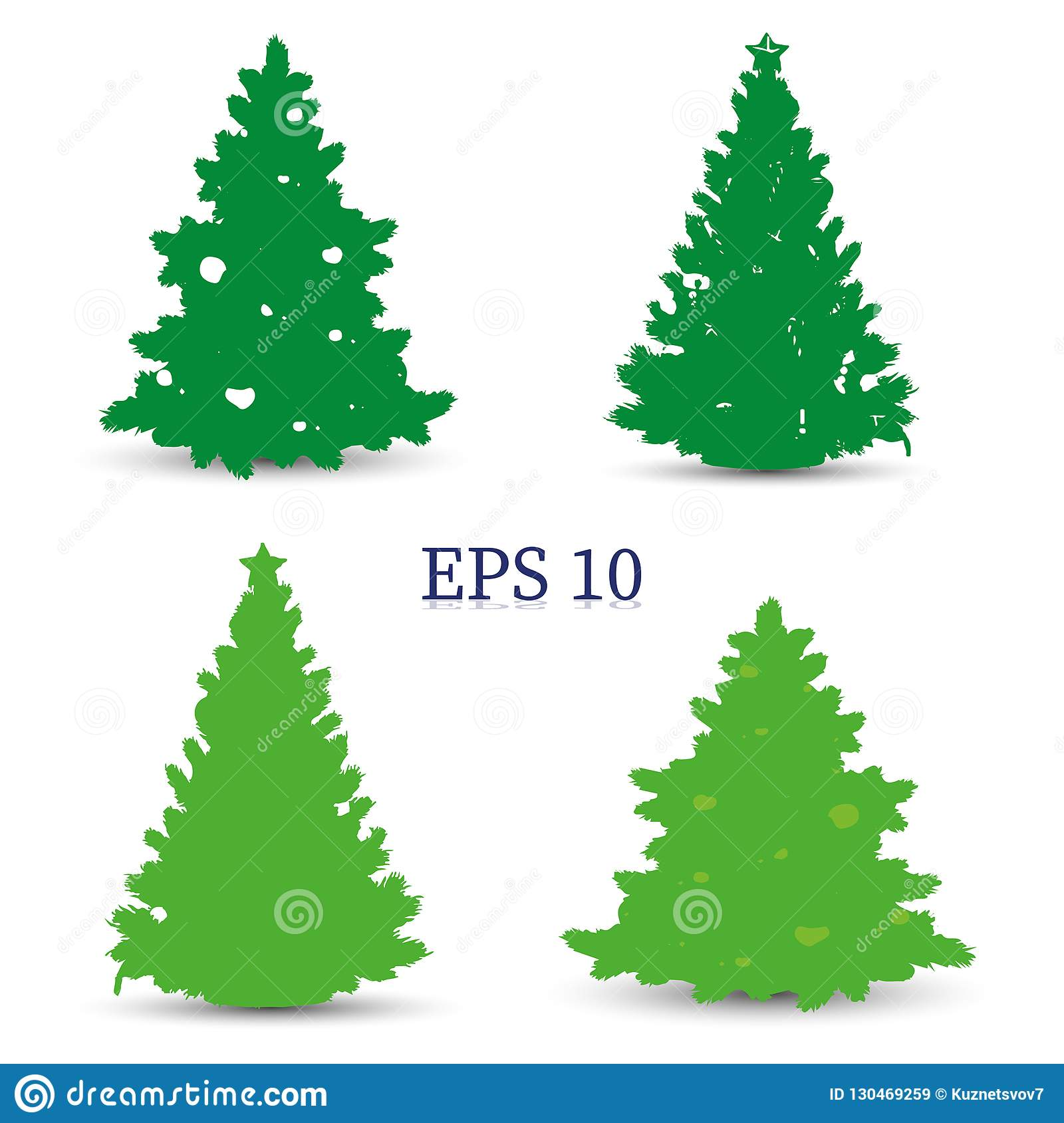 Christmas Trees Silhouette.Set Of Christmas Trees Green Silhouette On White Background