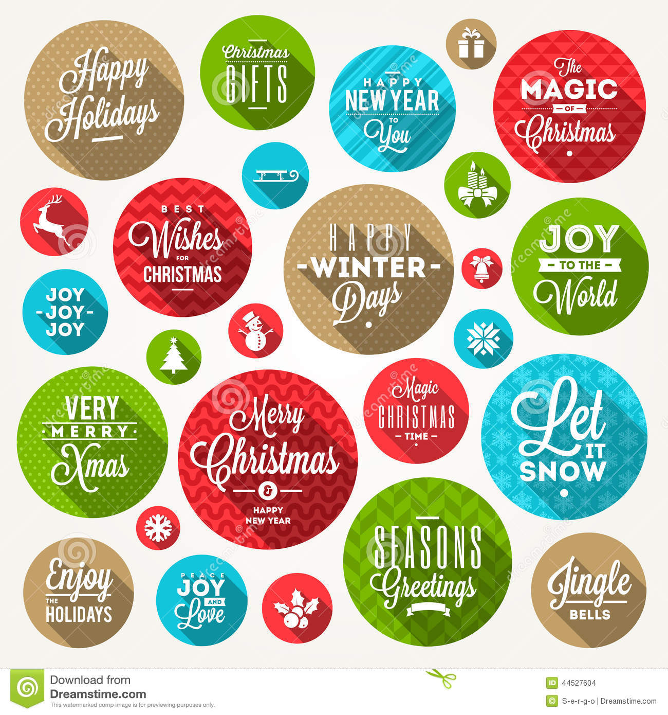 Set of round frames with Christmas greeting, phrases and flat icons ...