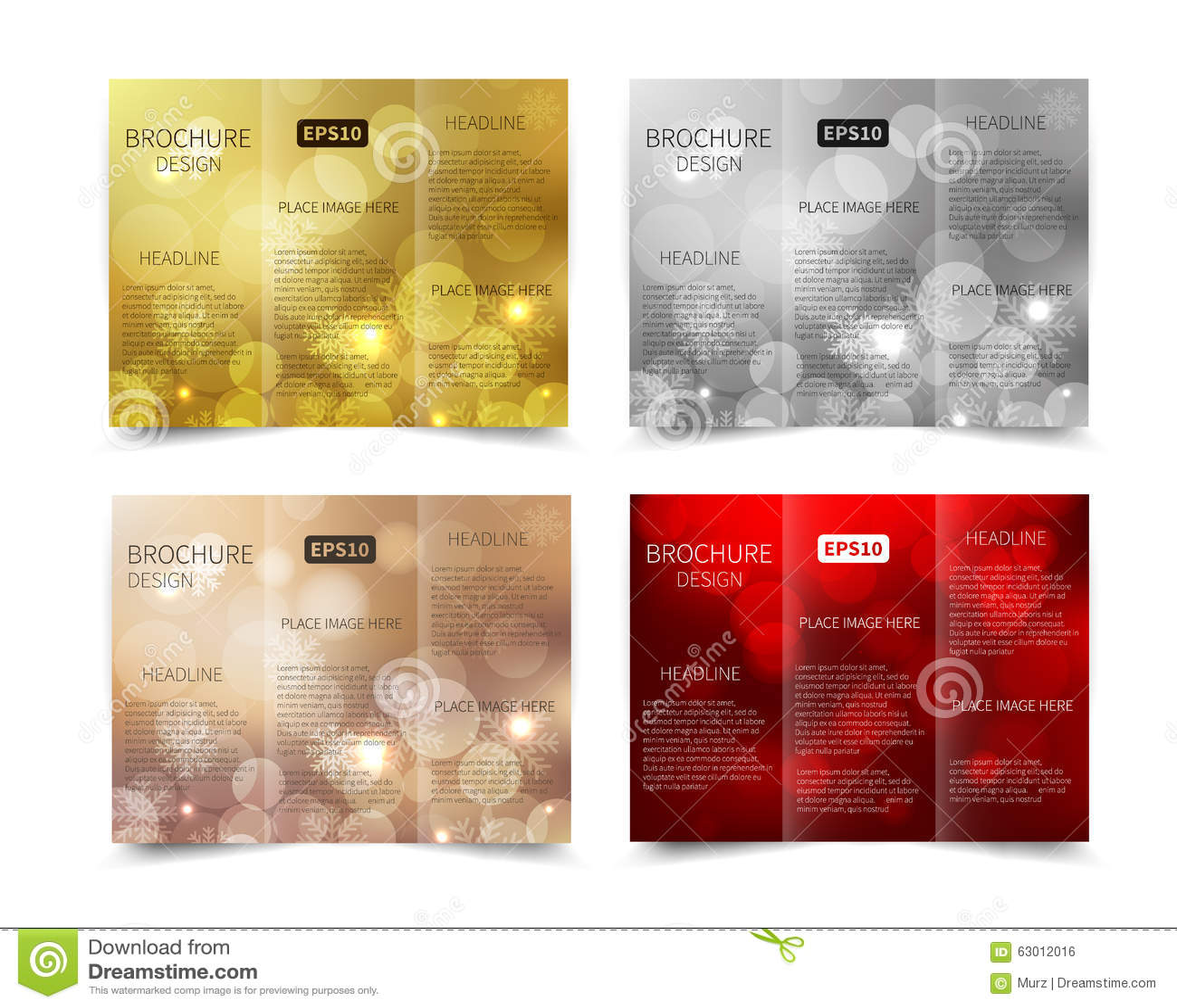 set of christmas vector brochure design template stock