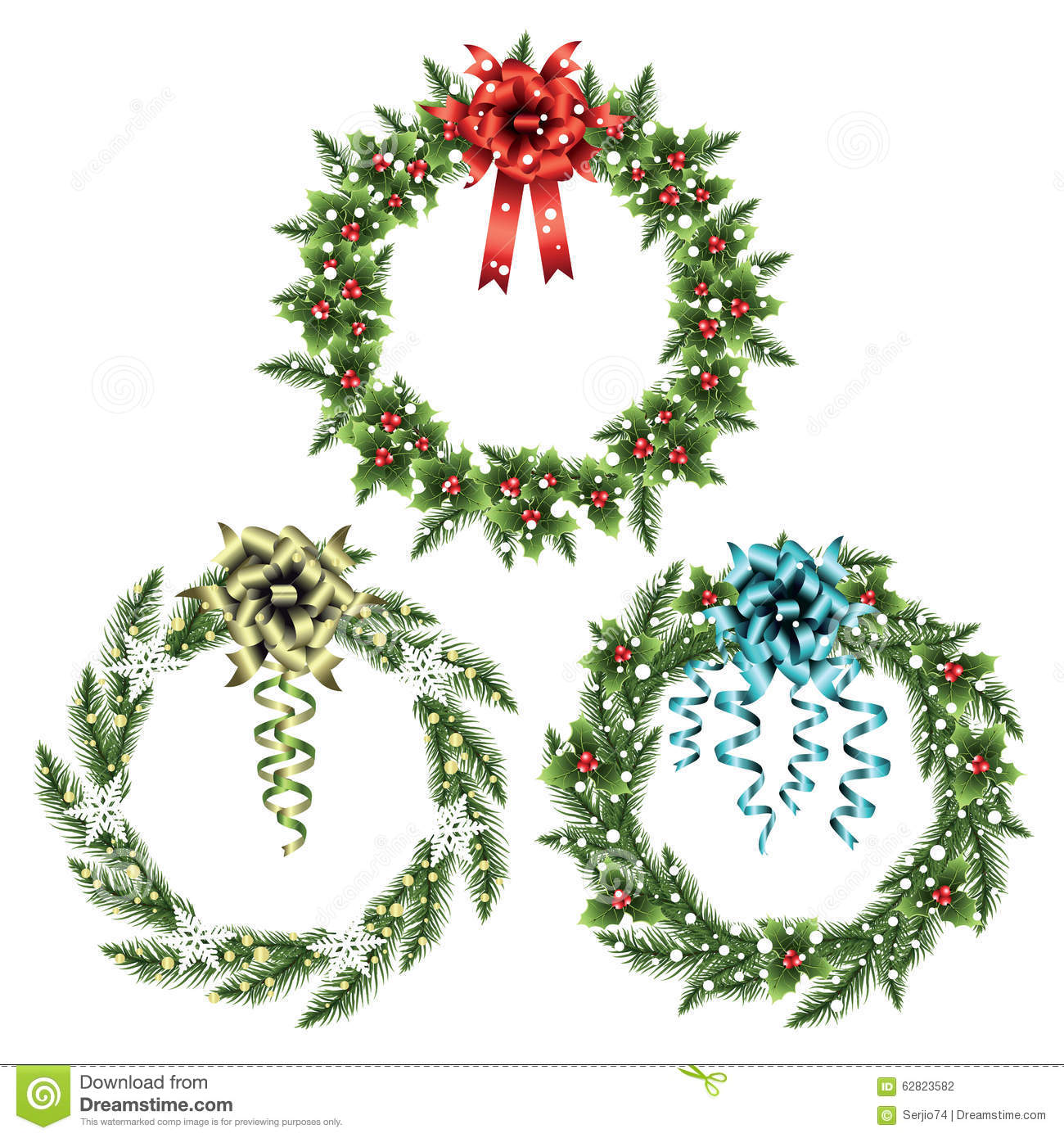 Set of christmas wreaths. stock vector. Illustration of ornament ...