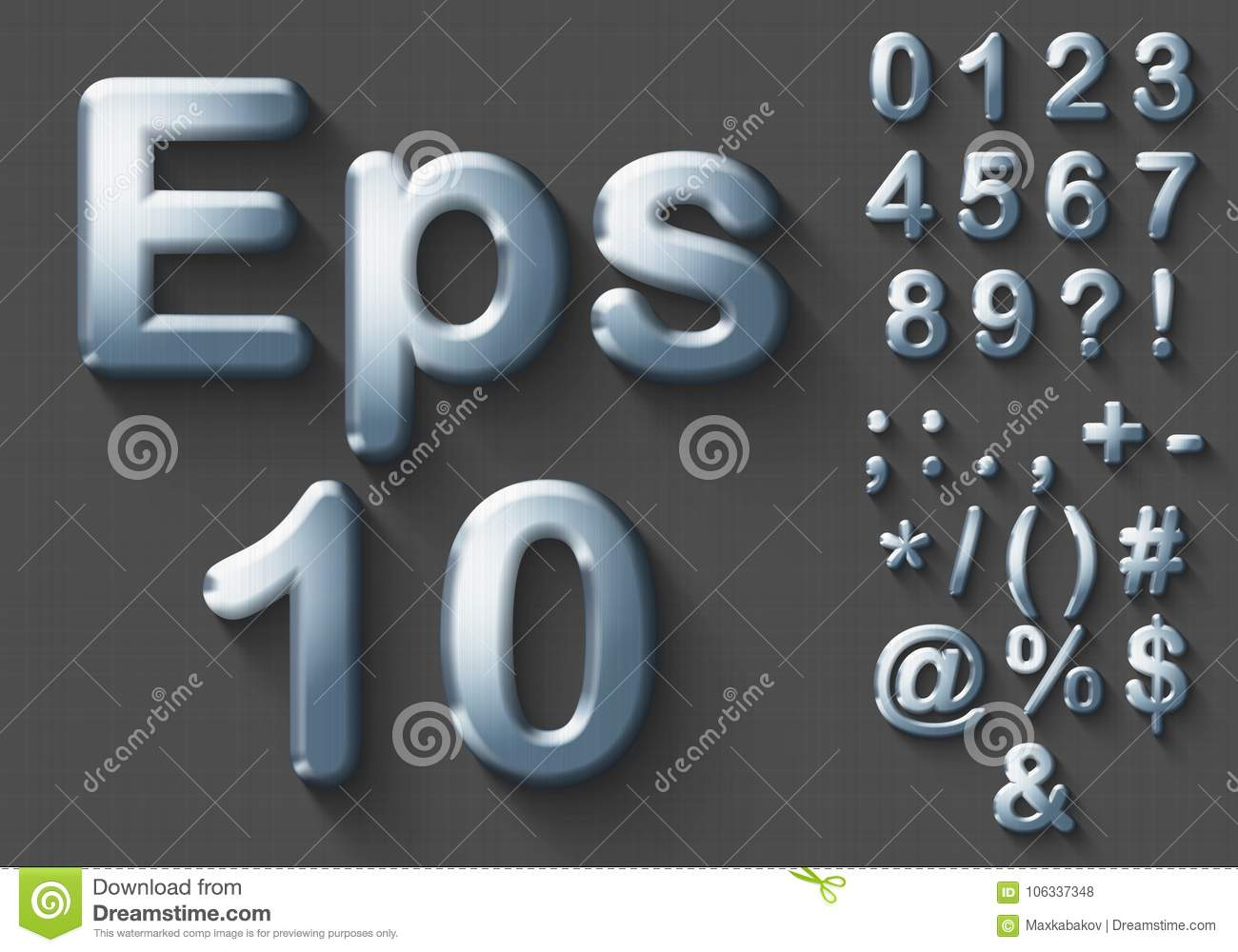 Set of chrome 3D Numbers and Symbols.