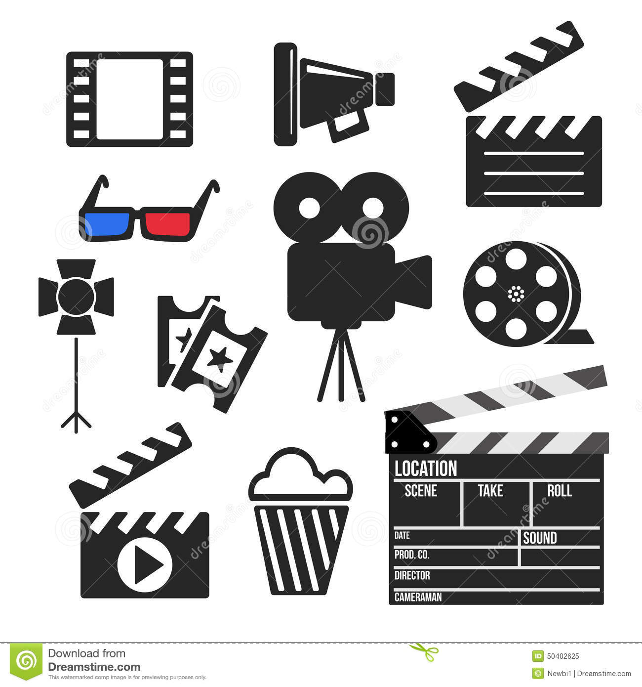 Set Of Cinema Web And Mobile Icons Vector Stock Vector