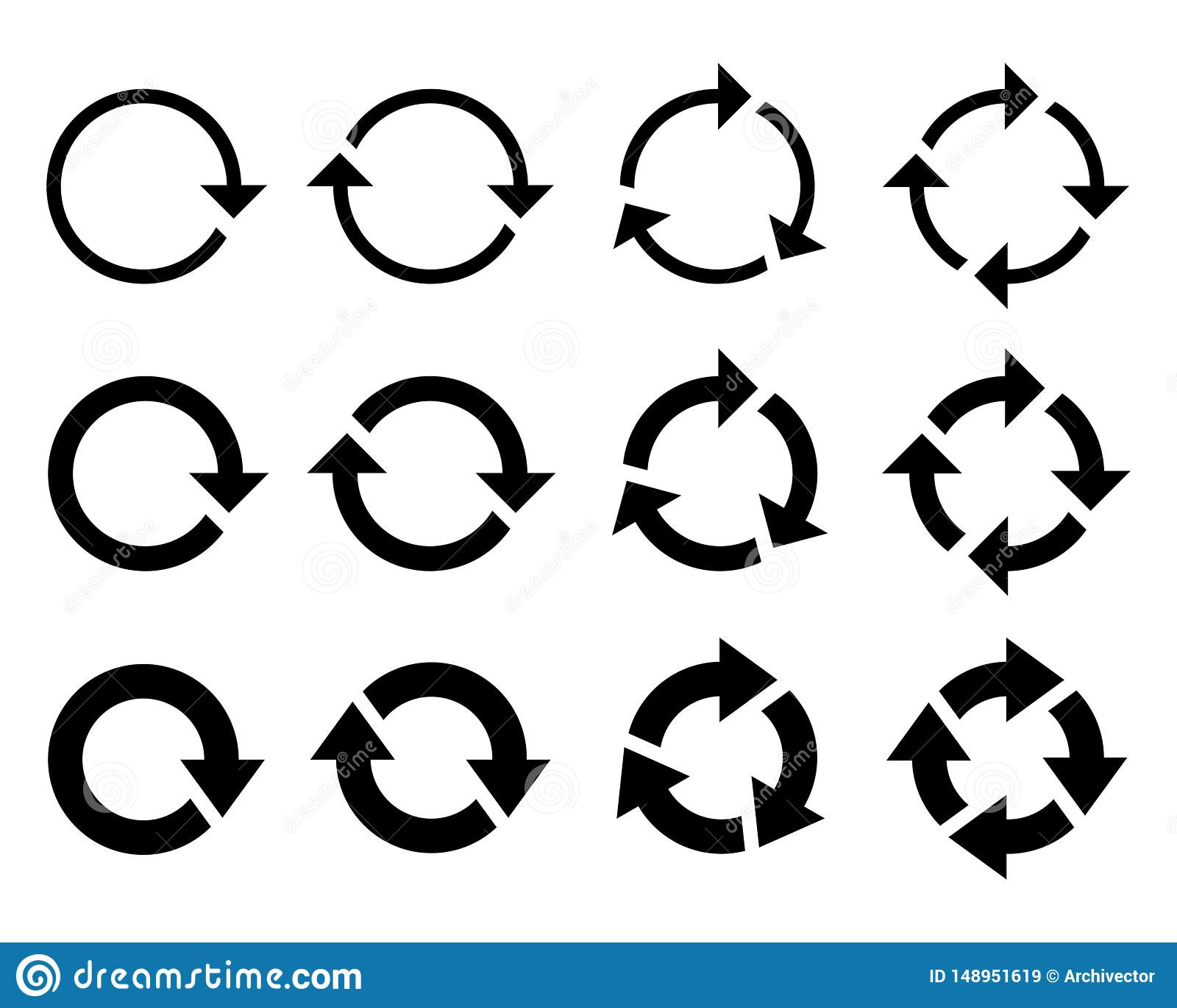 Arrows round set graphic icons. Rotation symbols