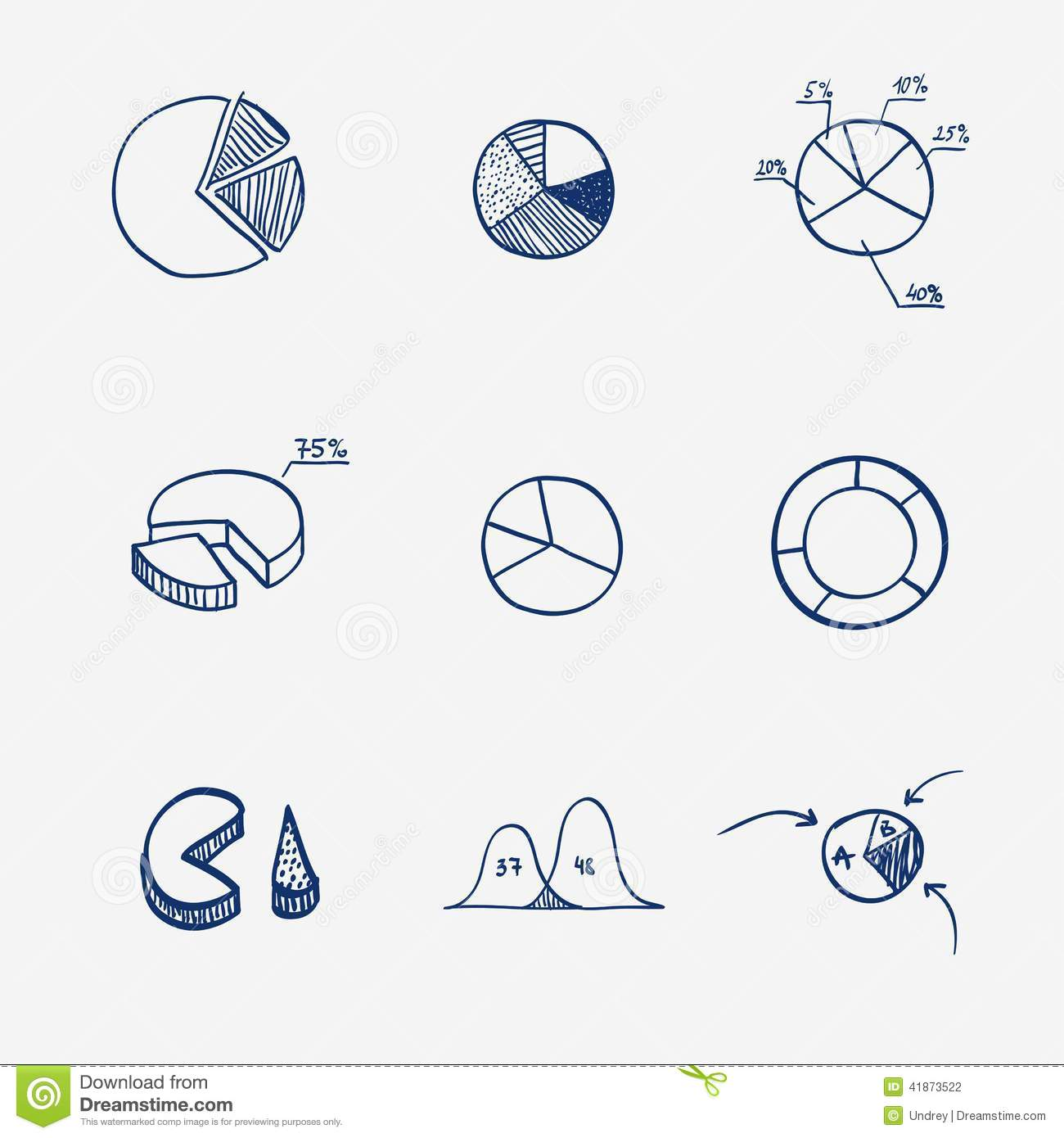 Set Of Circle Chart Diagram Graph Pie Hand Draw Stock Vector How To A Download Illustration