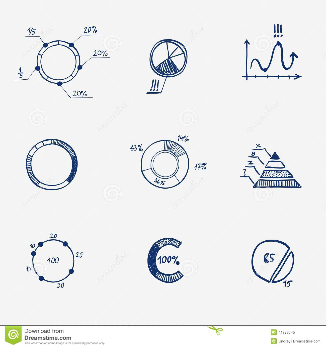 Set of circle chart diagram graph pie hand draw stock for Make doodle online