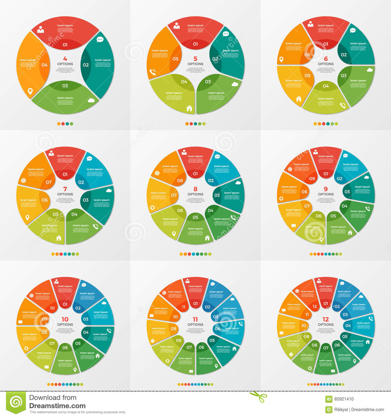 Set of 4-12 circle chart infographic templates