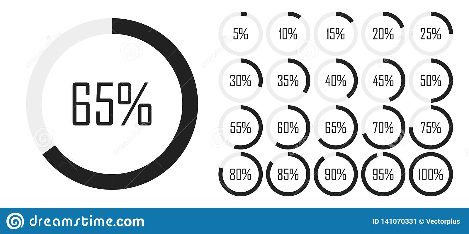 Set of circle percentage diagrams from 0 to 100 for infographics, lignt, 5 10 15 20 25 30 35 40 45 50 55 60 65 70 75 80 85 90 95