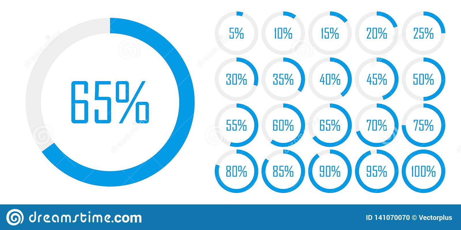 Set of circle percentage diagrams from 0 to 100 for web design, user UI interface or infographic - indicator with blue color.