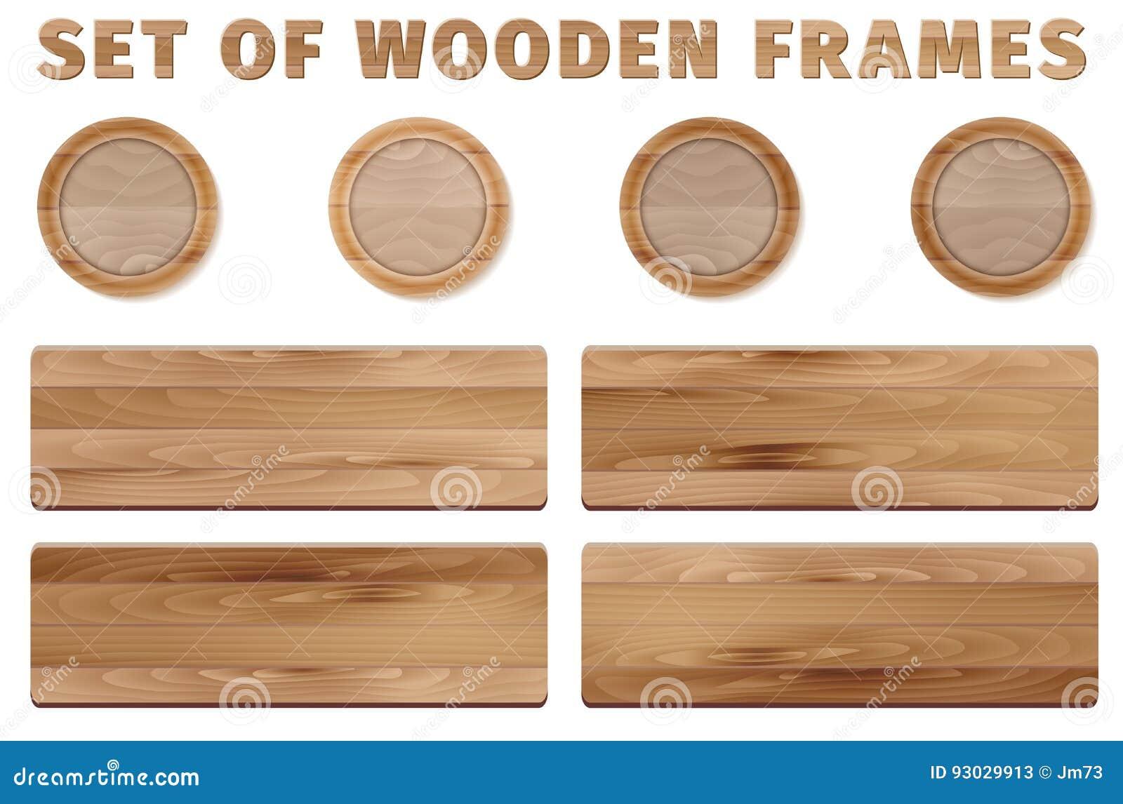 Wood frames set free vector - Background Circle Illustration Set Vector White Wooden