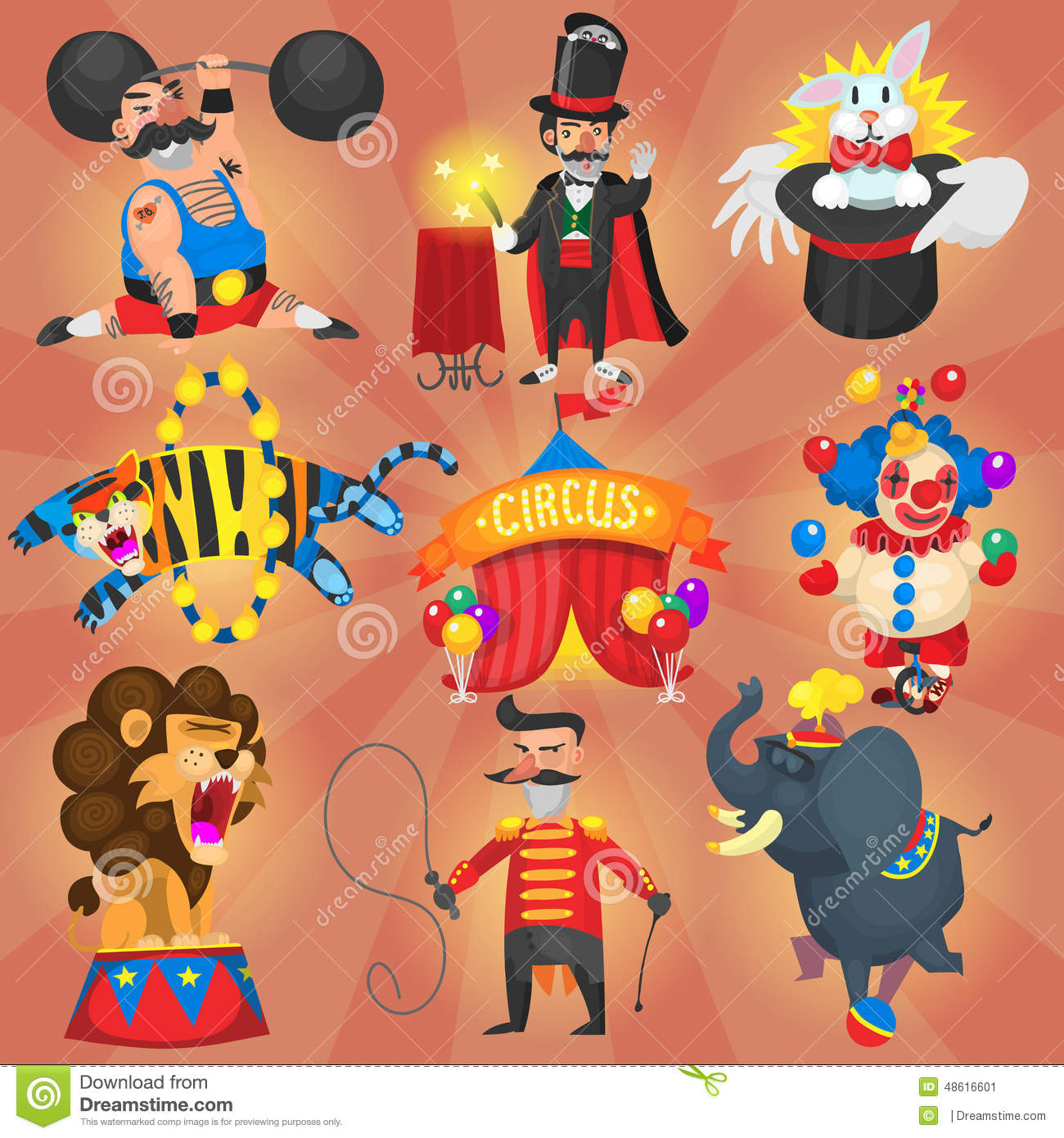 set of circus and carnival artists stock vector image scroll clipart with bird scroll clip art free images