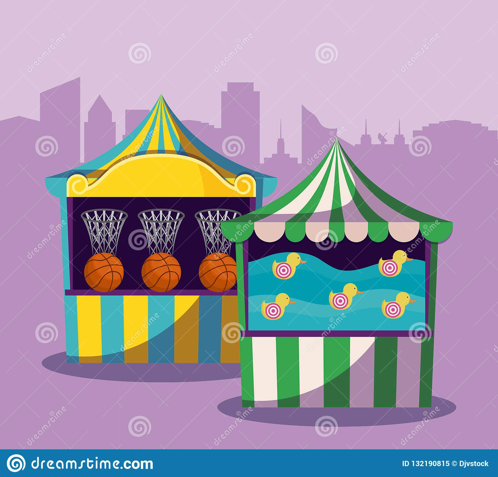 Set of circus tents with games