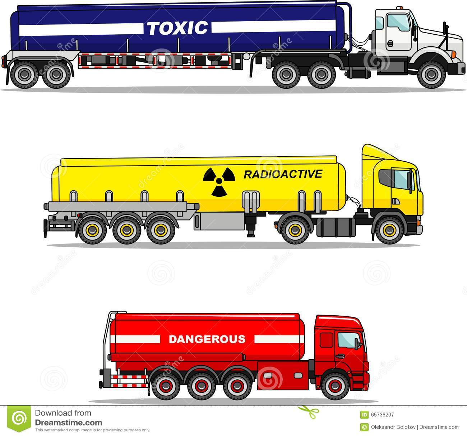 Set of cistern trucks carrying chemical, radioactive, toxic, hazardous substances isolated on white background in flat
