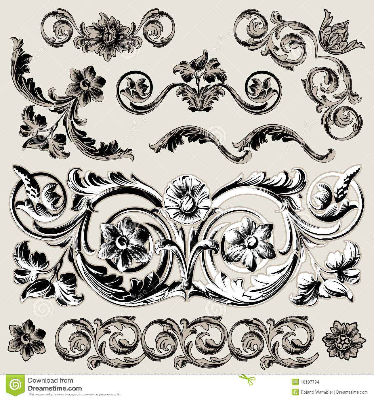 Floral Decoration set of classic floral decoration elements stock images - image