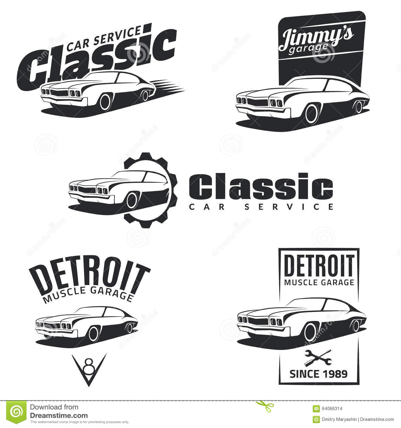 Design car club logo - Set Of Classic Muscle Car Emblems Badges And Icons Stock Images