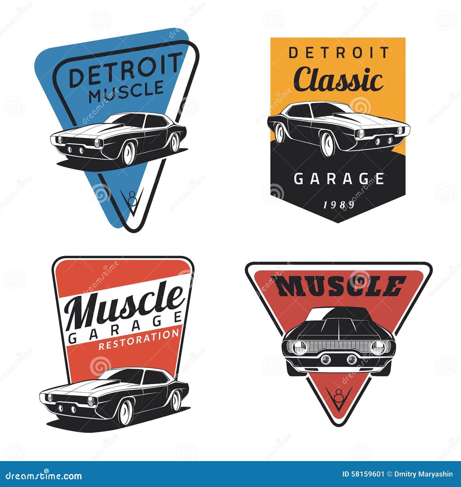 Muscle car garage logo black vector illustration for Auto motor club comparisons