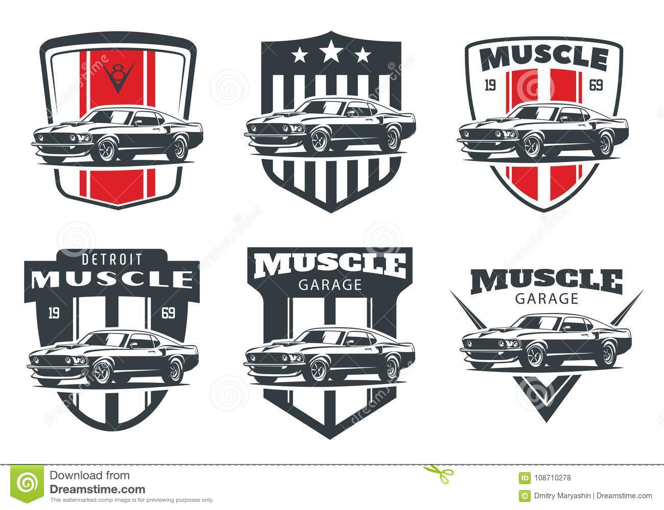 Set of classic muscle car logo, emblems and badges.