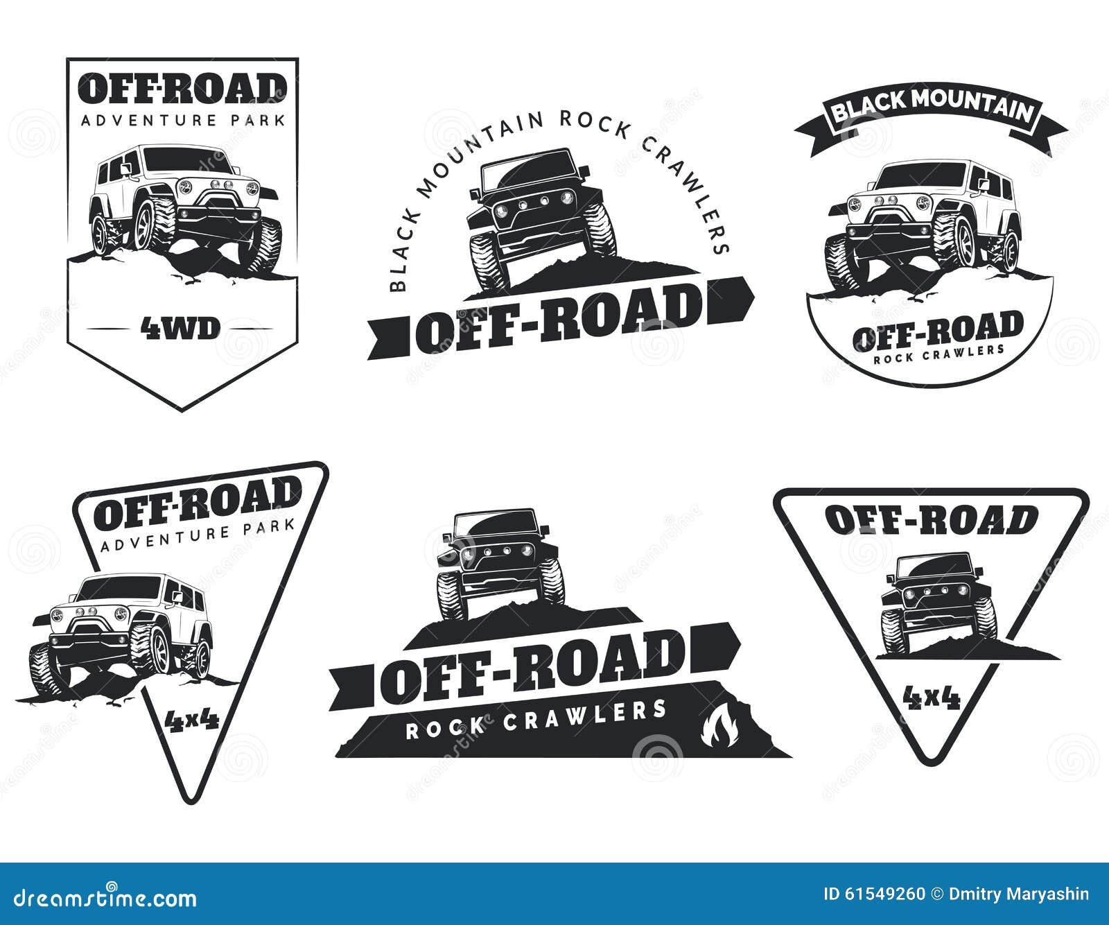 Design car club logo - Set Of Classic Off Road Suv Car Emblems Badges And Icons Rock Stock
