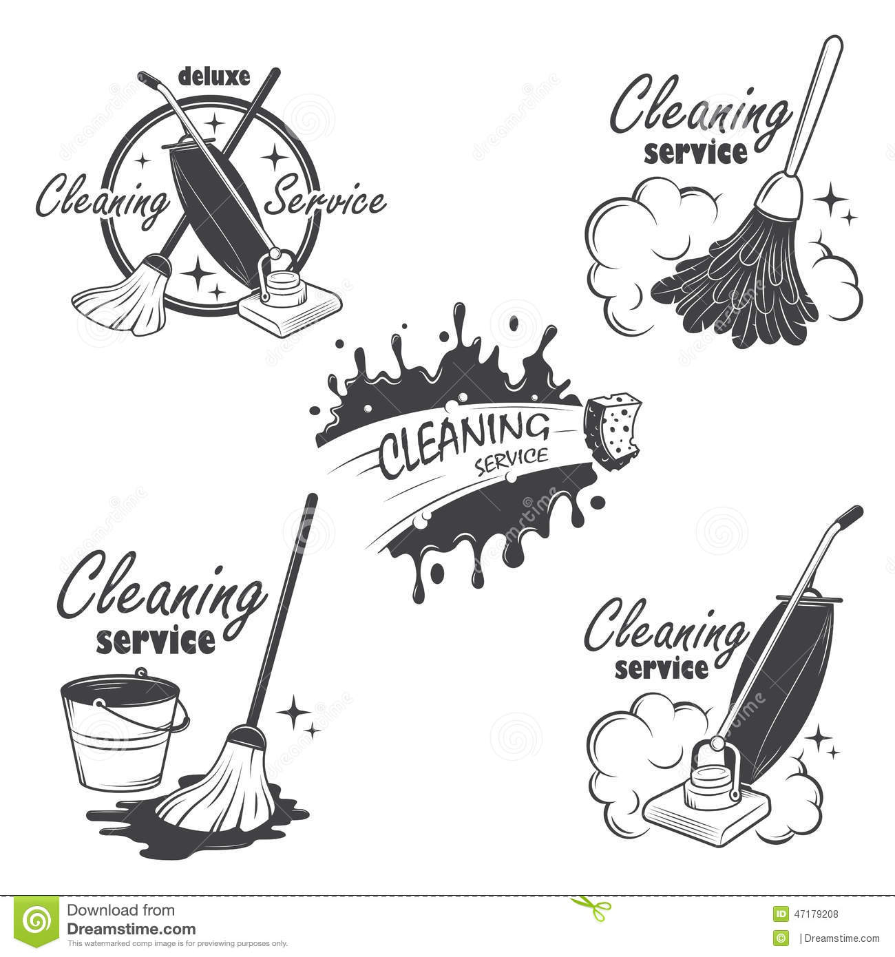 Set Of Cleaning Service Emblems Labels And Stock Vector