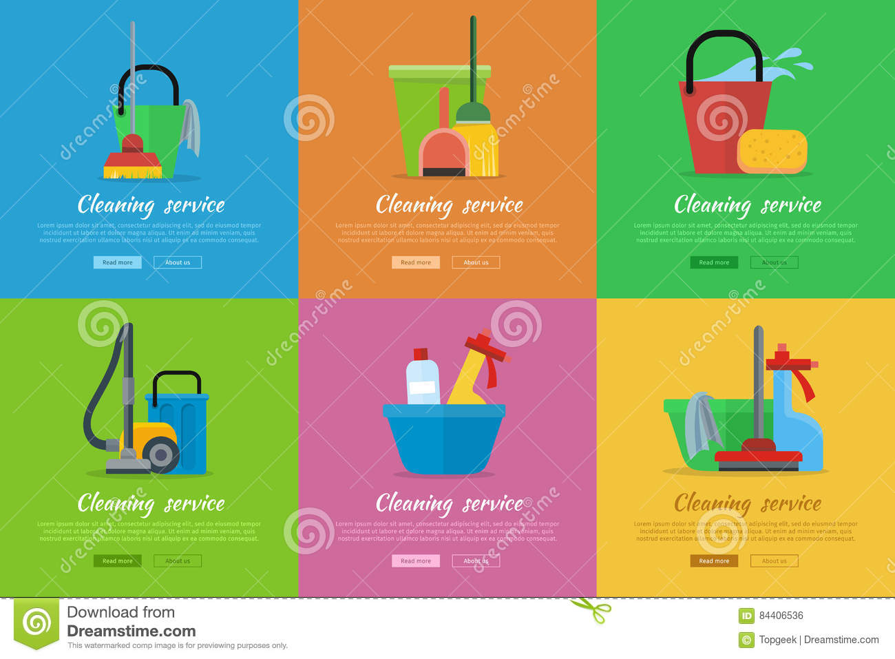 Set Of Cleaning Service Flat Style Web Banners Stock Vector