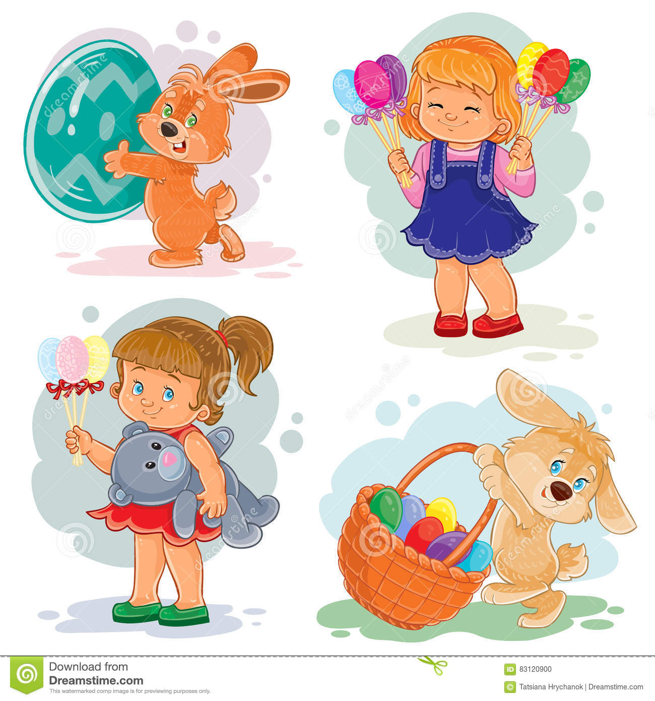 Set Clip Art Illustrations With Young Children On Easter Theme ...