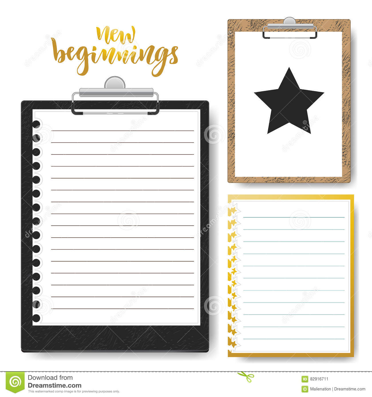 set of clipboard with lined paper vector mock up template for