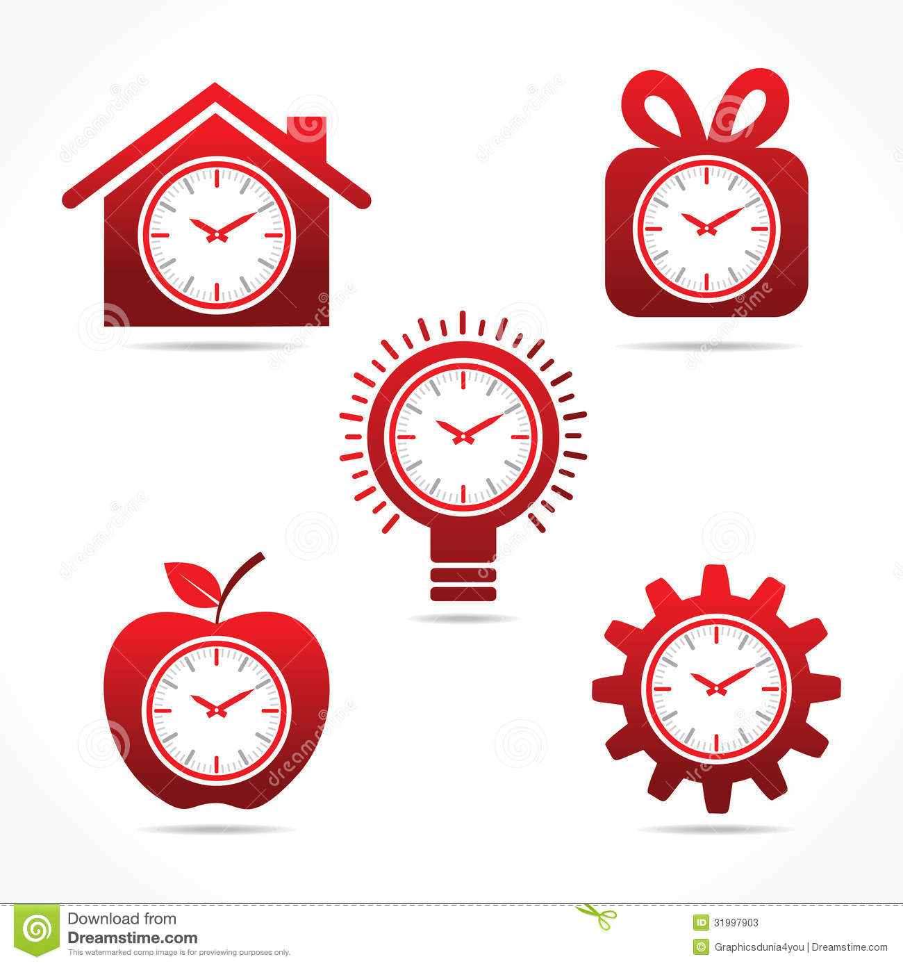 Set Of Clock In Different Shapes Stock Photos Image
