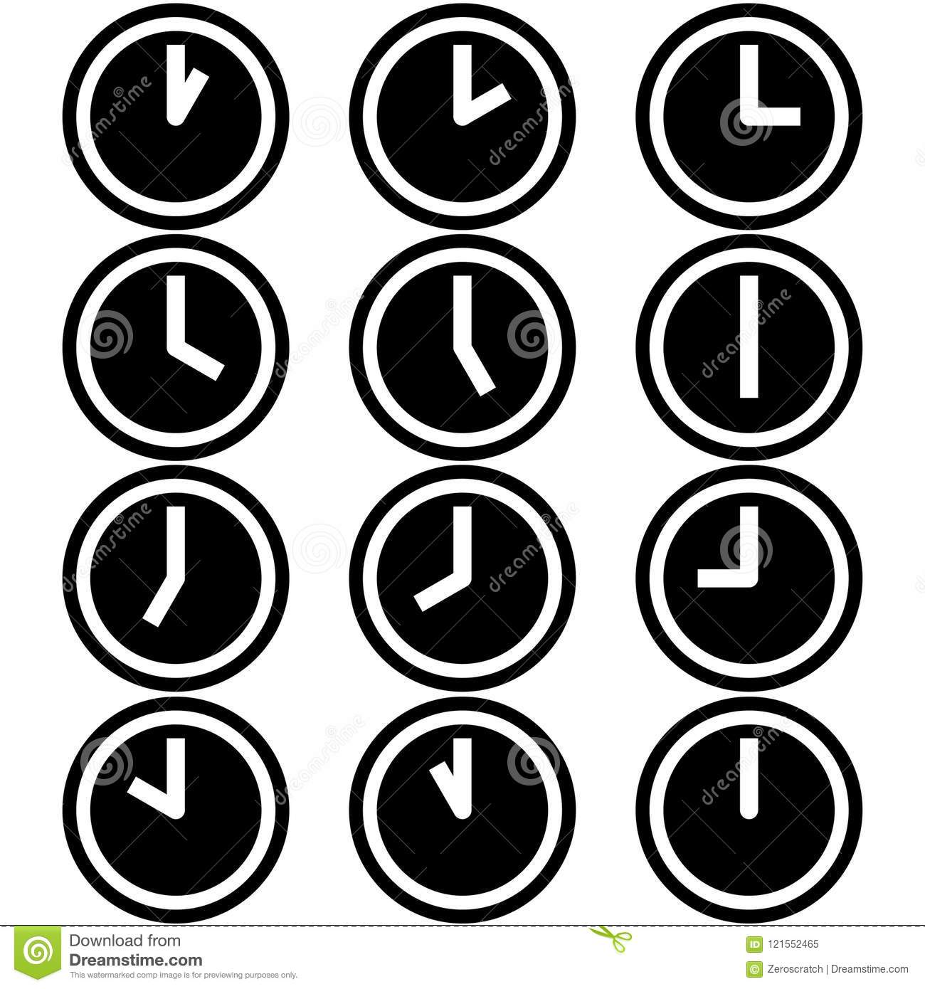 Clocks showing different time hours symbols icons signs logos simple black and white colored set 2
