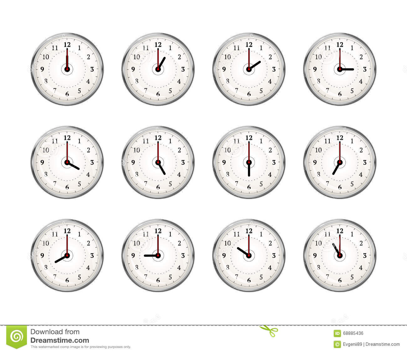 Worksheet Clocks To The Hour set of clocks icons for every hour day on white stock white